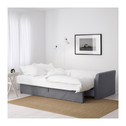 HOLMSUND - three-seat sofa-bed with storage, Nordvalla medium grey | IKEA Hong Kong and Macau - PE600206_S4