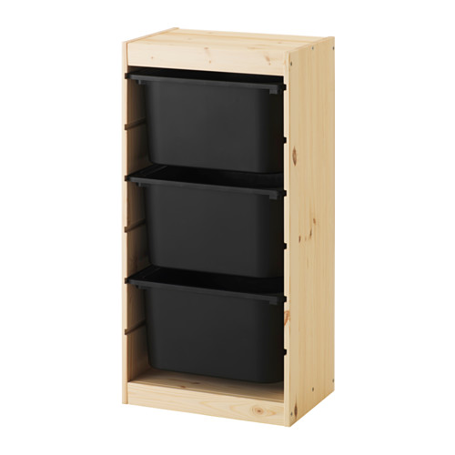 TROFAST - storage combination with boxes, light white stained pine/black | IKEA Hong Kong and Macau - PE547492_S4