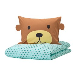 KÄPPHÄST - quilt cover and pillowcase, bear turquoise | IKEA Hong Kong and Macau - PE746964_S3