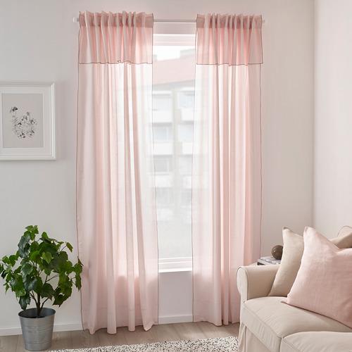 MOALISA - curtains, 1 pair, pale pink/pink | IKEA Hong Kong and Macau - PE801221_S4