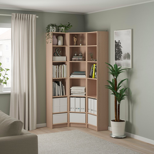 BILLY - bookcase combination/crnr solution, white stained oak veneer | IKEA Hong Kong and Macau - PE801270_S4
