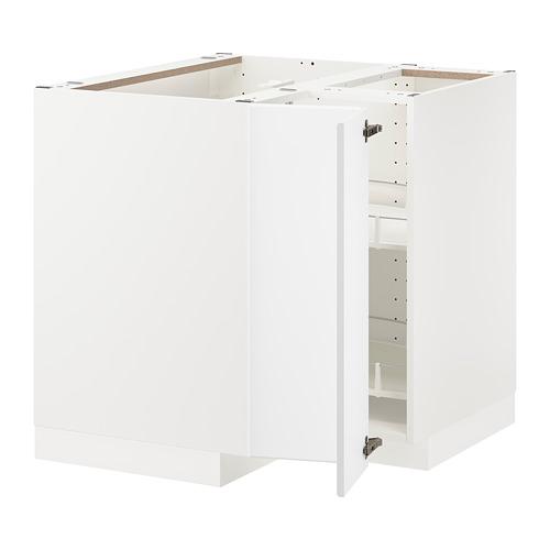 METOD - corner base cabinet with carousel, white/Kungsbacka matt white | IKEA 香港及澳門 - PE707028_S4