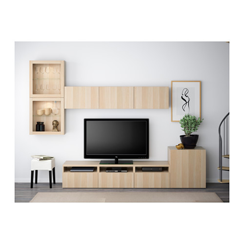 BESTÅ - TV storage combination/glass doors, Lappviken/Sindvik white stained oak eff clear glass | IKEA Hong Kong and Macau - PE538226_S4