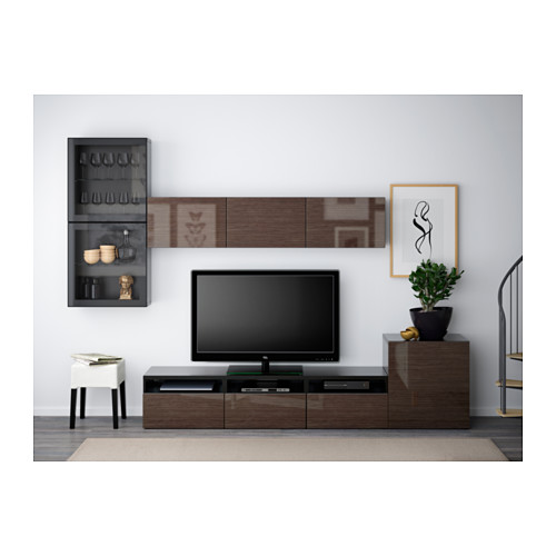 BESTÅ - 電視貯物組合/玻璃門, 棕黑色/Selsviken 光面/褐色/透明玻璃 | IKEA 香港及澳門 - PE538229_S4
