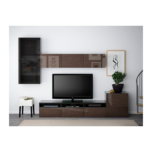 BESTÅ - 電視貯物組合/玻璃門, 棕黑色/Selsviken 光面/褐色/茶色玻璃 | IKEA 香港及澳門 - PE538230_S4