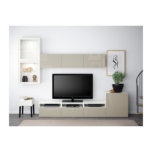 BESTÅ - TV storage combination/glass doors, white/Selsviken high-gloss/beige clear glass | IKEA Hong Kong and Macau - PE538239_S4