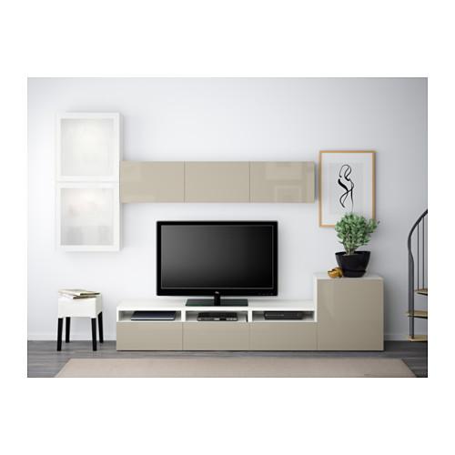 BESTÅ - 電視貯物組合/玻璃門, white/Selsviken high-gloss/beige frosted glass | IKEA 香港及澳門 - PE538240_S4