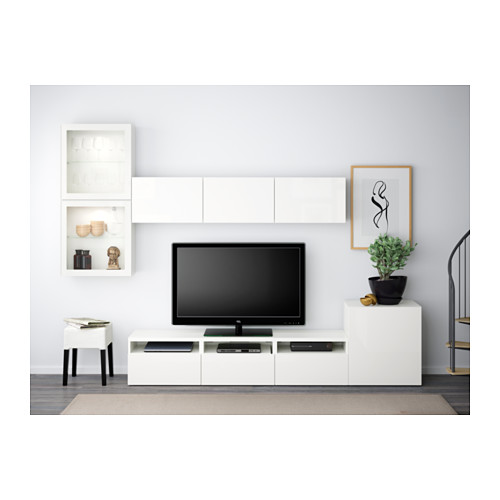 BESTÅ - 電視貯物組合/玻璃門, 白色/Selsviken 光面/白色/透明玻璃 | IKEA 香港及澳門 - PE538243_S4