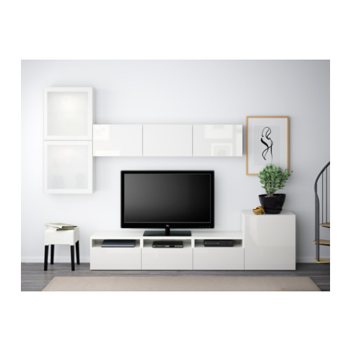 BESTÅ - TV storage combination/glass doors, white/Selsviken high-gloss/white frosted glass | IKEA Hong Kong and Macau - PE538244_S4