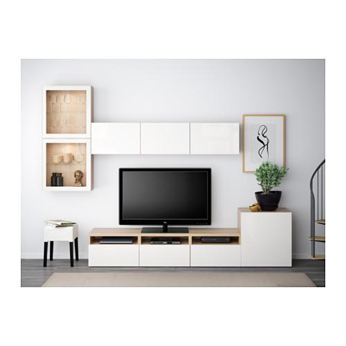BESTÅ - 電視貯物組合/玻璃門, 染白橡木紋/Selsviken 光面/白色/透明玻璃 | IKEA 香港及澳門 - PE538247_S4