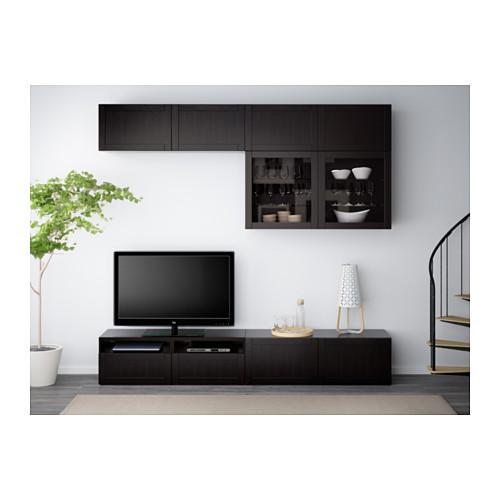 BESTÅ - TV storage combination/glass doors, Hanviken black-brown clear glass | IKEA Hong Kong and Macau - PE538170_S4