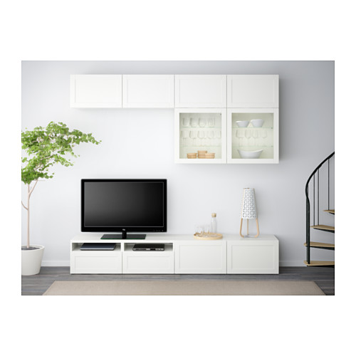 BESTÅ - TV storage combination/glass doors, Hanviken white clear glass | IKEA Hong Kong and Macau - PE538173_S4