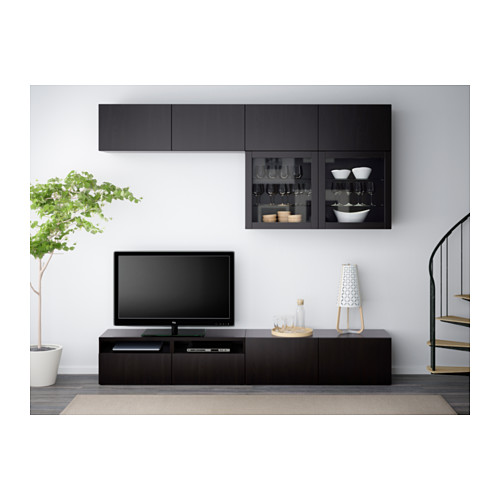 BESTÅ - TV storage combination/glass doors, Lappviken/Sindvik black-brown clear glass | IKEA Hong Kong and Macau - PE538180_S4