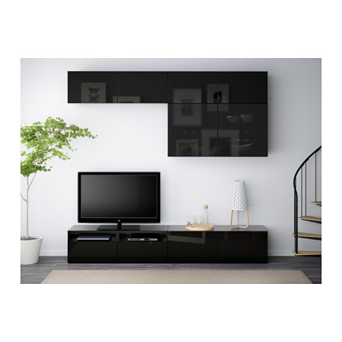 BESTÅ - TV storage combination/glass doors, black-brown/Selsviken high-gloss/black smoked glass | IKEA Hong Kong and Macau - PE538186_S4
