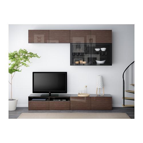 BESTÅ - TV storage combination/glass doors, black-brown/Selsviken high-gloss/brown clear glass | IKEA Hong Kong and Macau - PE538187_S4