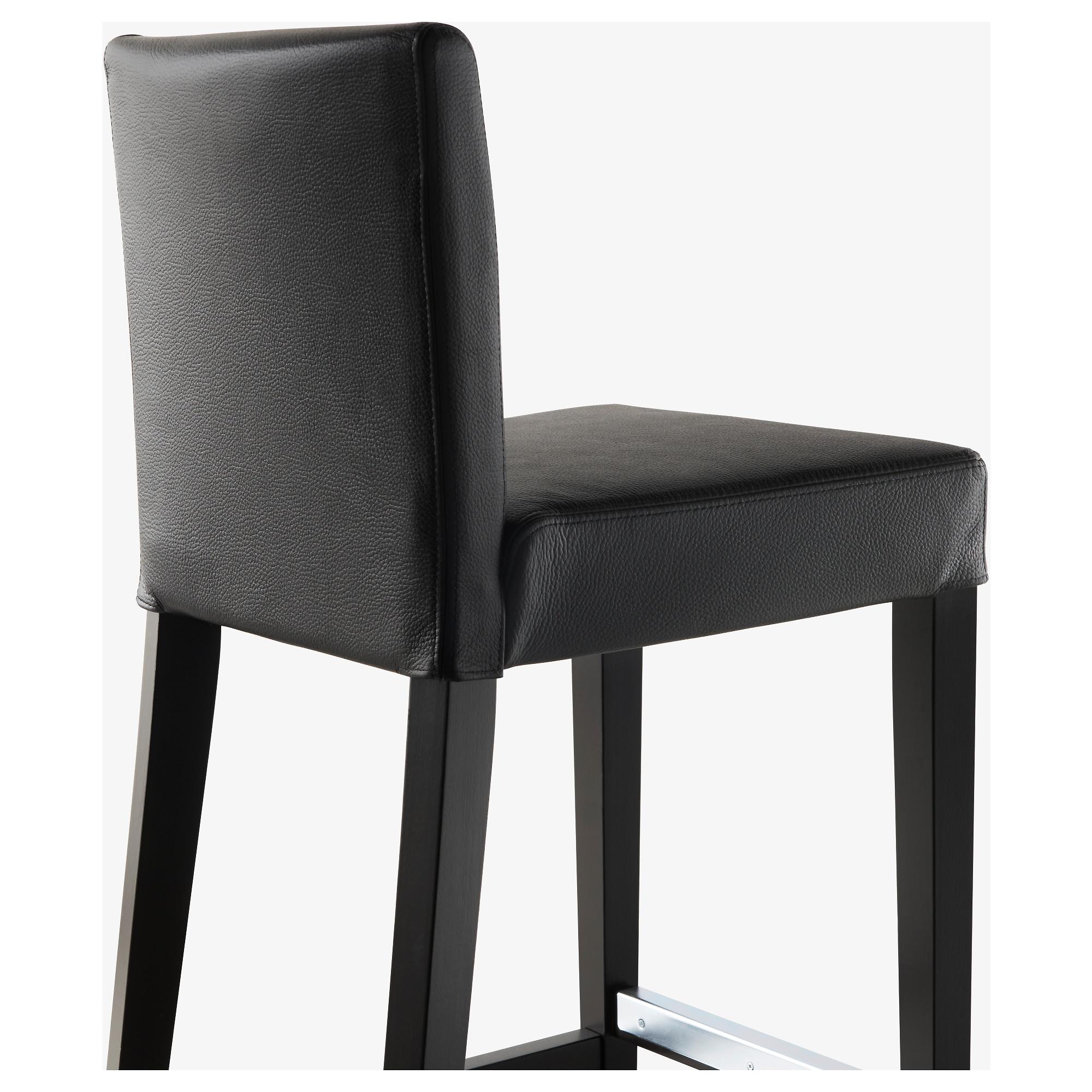 Incredible Henriksdal Bar Stool With Backrest Brown Black Glose Machost Co Dining Chair Design Ideas Machostcouk