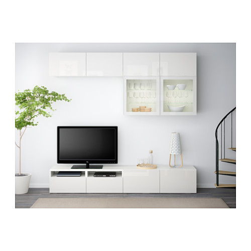 BESTÅ - TV storage combination/glass doors, white/Selsviken high-gloss/white clear glass | IKEA Hong Kong and Macau - PE538201_S4