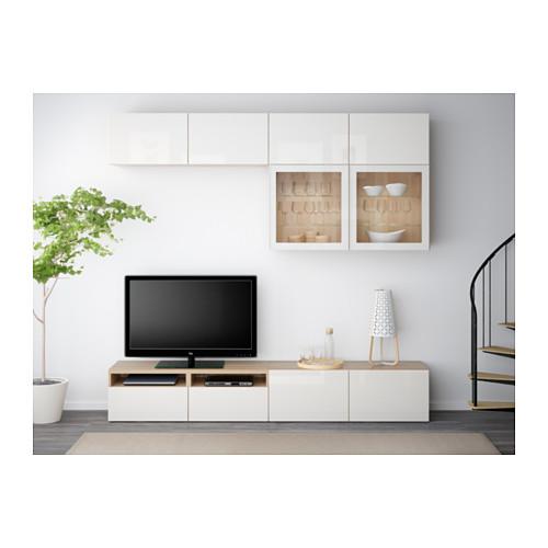 BESTÅ - 電視貯物組合/玻璃門, white stained oak effect/Selsviken high-gloss/white clear glass   IKEA 香港及澳門 - PE538205_S4
