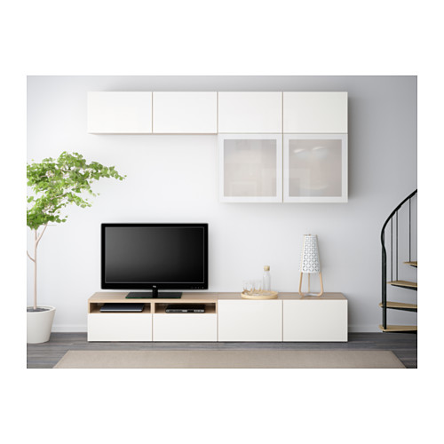 BESTÅ - TV storage combination/glass doors, white stained oak effect/Selsviken high-gloss/white frosted glass | IKEA Hong Kong and Macau - PE538206_S4