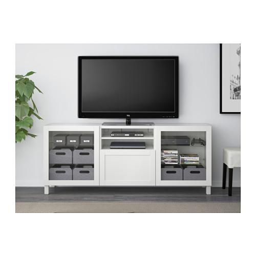 BESTÅ - TV bench with drawers, Hanviken/Stubbarp white clear glass | IKEA Hong Kong and Macau - PE538015_S4