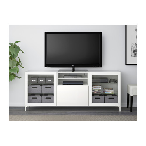 BESTÅ - TV bench with drawers, white/Selsviken high-gloss/white clear glass | IKEA Hong Kong and Macau - PE538040_S4
