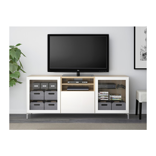 BESTÅ - TV bench with drawers, white stained oak effect/Selsviken high-gloss/white clear glass | IKEA Hong Kong and Macau - PE538044_S4