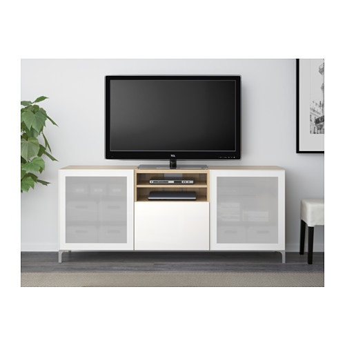 BESTÅ - TV bench with drawers, white stained oak effect/Selsviken high-gloss/white frosted glass | IKEA Hong Kong and Macau - PE538045_S4