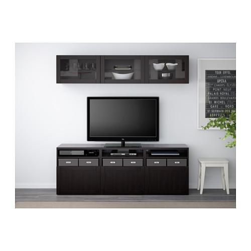 BESTÅ - TV storage combination/glass doors, Hanviken black-brown clear glass | IKEA Hong Kong and Macau - PE537910_S4