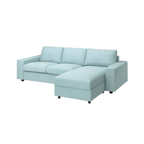 VIMLE - 三座位梳化連躺椅用布套, with wide armrests/Saxemara light blue | IKEA 香港及澳門 - PE801514_S4
