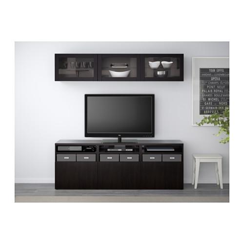 BESTÅ - TV storage combination/glass doors, Lappviken/Sindvik black-brown clear glass | IKEA Hong Kong and Macau - PE537917_S4