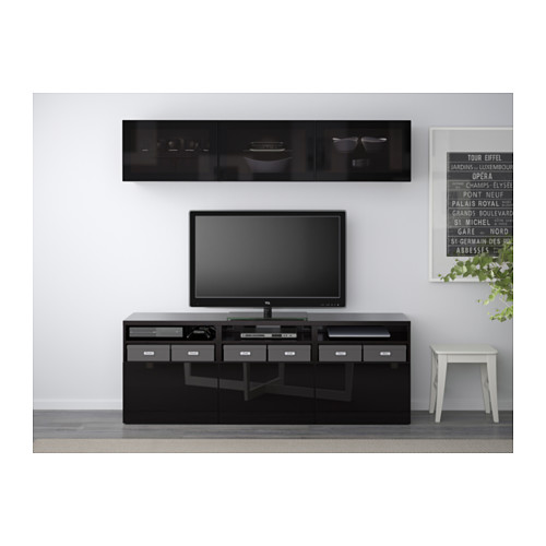 BESTÅ - 電視貯物組合/玻璃門, 棕黑色/Selsviken 光面/黑色/茶色玻璃 | IKEA 香港及澳門 - PE537923_S4