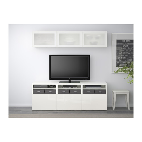 BESTÅ - TV storage combination/glass doors, white/Selsviken high-gloss/white frosted glass | IKEA Hong Kong and Macau - PE537939_S4