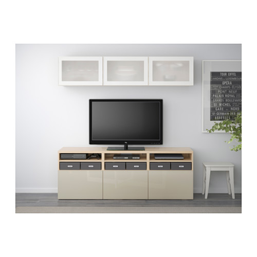 BESTÅ - 電視貯物組合/玻璃門, 染白橡木紋/Selsviken 光面/米黃色/磨砂玻璃 | IKEA 香港及澳門 - PE537941_S4