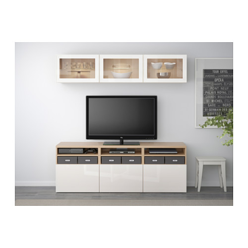 BESTÅ - TV storage combination/glass doors, white stained oak effect/Selsviken high-gloss/white clear glass | IKEA Hong Kong and Macau - PE537942_S4