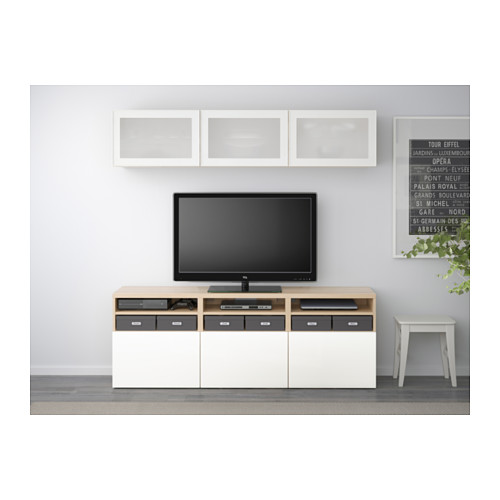 BESTÅ - TV storage combination/glass doors, white stained oak effect/Selsviken high-gloss/white frosted glass | IKEA Hong Kong and Macau - PE537943_S4