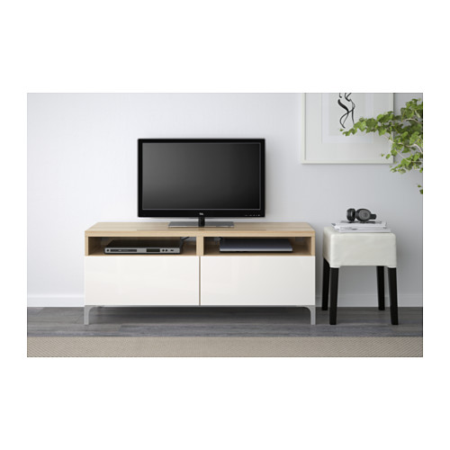 BESTÅ - TV bench with drawers, white stained oak effect/Selsviken high-gloss/white | IKEA Hong Kong and Macau - PE537884_S4