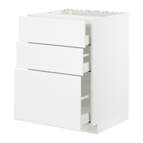 METOD/MAXIMERA - base cab f hob/3 fronts/3 drawers, white/Kungsbacka matt white | IKEA Hong Kong and Macau - PE707325_S4