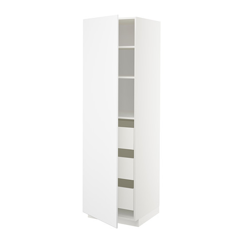 METOD/MAXIMERA - high cabinet with drawers, white/Kungsbacka matt white | IKEA Hong Kong and Macau - PE707336_S4