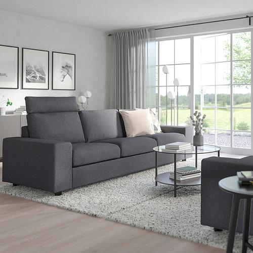 VIMLE - 3-seat sofa, with headrest with wide armrests/Gunnared medium grey | IKEA Hong Kong and Macau - PE801559_S4