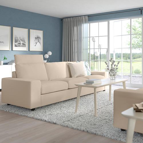 VIMLE - 三座位梳化, with headrest with wide armrests/Hallarp beige   IKEA 香港及澳門 - PE801568_S4