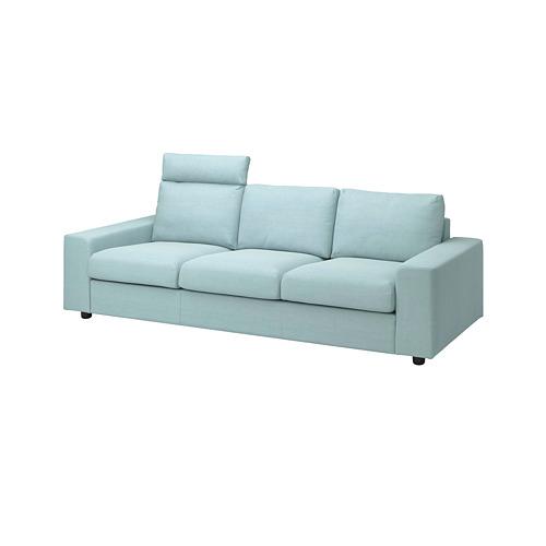 VIMLE - 三座位梳化, with headrest with wide armrests/Saxemara light blue   IKEA 香港及澳門 - PE801564_S4