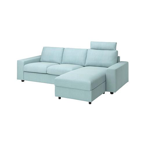VIMLE - cover 3-seat sofa w chaise longue, with wide armrests with headrest/Saxemara light blue   IKEA Hong Kong and Macau - PE801599_S4
