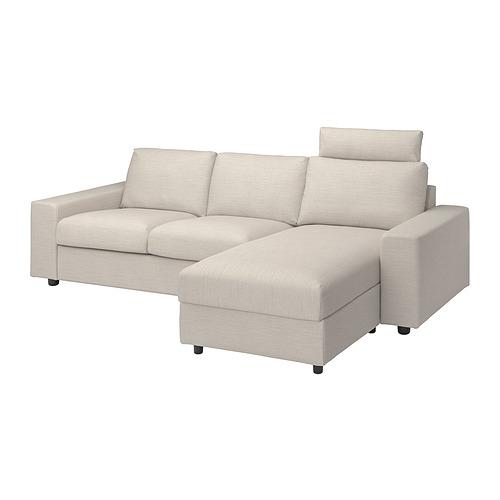 VIMLE - 三座位梳化連躺椅用布套, with headrest with wide armrests/Gunnared beige   IKEA 香港及澳門 - PE801579_S4