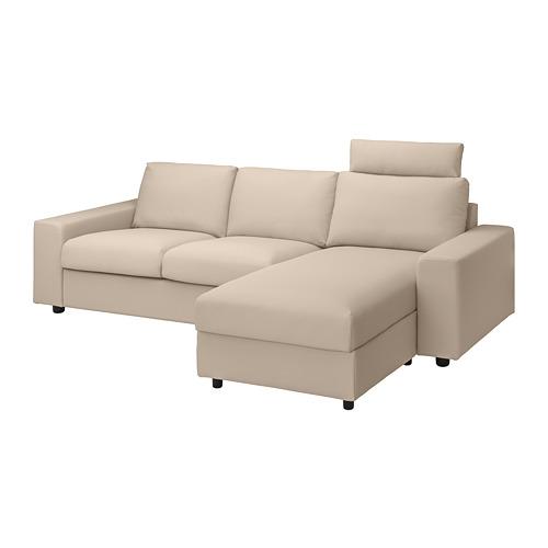 VIMLE - 三座位梳化連躺椅, with wide armrests with headrest/Hallarp beige | IKEA 香港及澳門 - PE801582_S4
