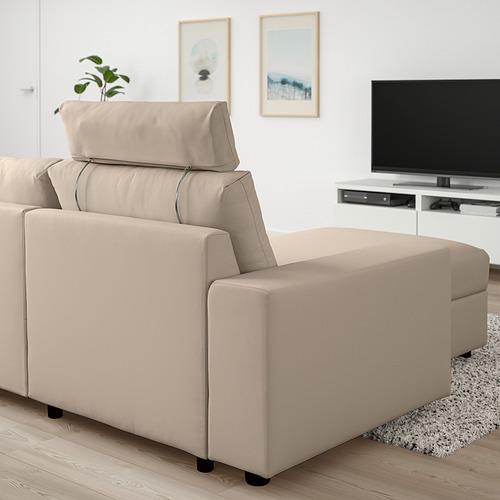 VIMLE - 三座位梳化連躺椅, with wide armrests with headrest/Hallarp beige | IKEA 香港及澳門 - PE801584_S4