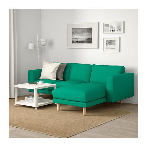 NORSBORG - 3-seat sofa, with chaise longue/Edum bright green/birch             | IKEA Hong Kong and Macau - PE659381_S4