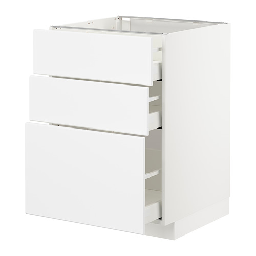 METOD/MAXIMERA - base cabinet with 3 drawers, white/Kungsbacka matt white | IKEA Hong Kong and Macau - PE707465_S4