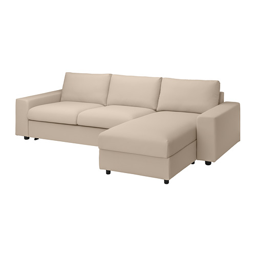 VIMLE - cover 3-seat sofa-bed w chaise lng, with wide armrests/Hallarp beige | IKEA Hong Kong and Macau - PE801649_S4
