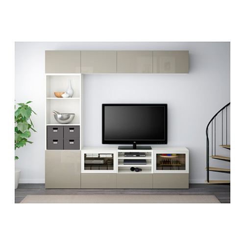 BESTÅ - TV storage combination/glass doors, white/Selsviken high-gloss/beige clear glass | IKEA Hong Kong and Macau - PE537753_S4