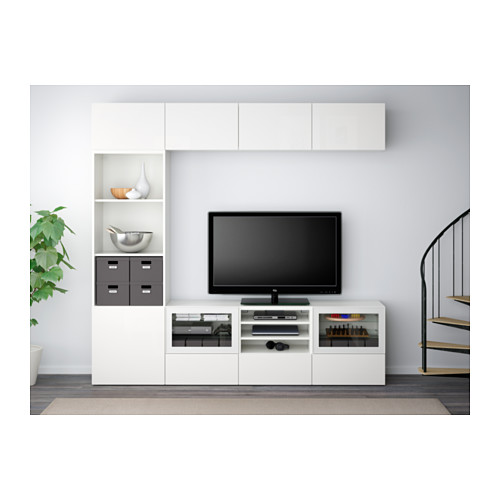 BESTÅ - TV storage combination/glass doors, white/Selsviken high-gloss/white clear glass | IKEA Hong Kong and Macau - PE537757_S4